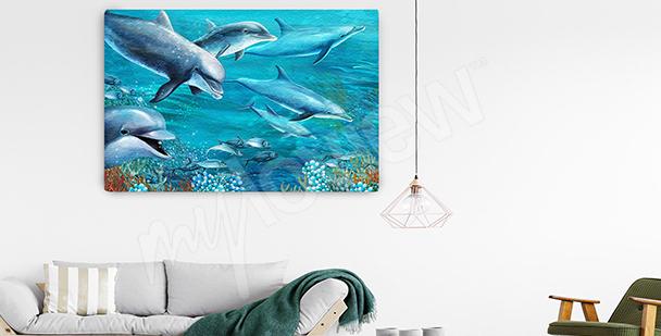 Obraz delfiny w głębi morskiej