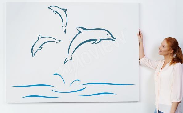 Obraz delfiny w minimalistycznym stylu