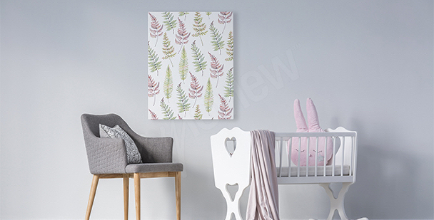 Obraz do pokoju dziewczynki liście