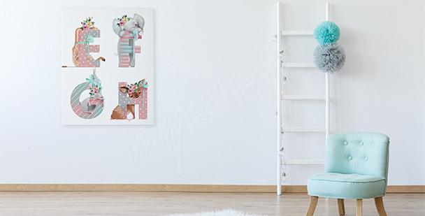 Obraz do pokoju dziewczynki: literki