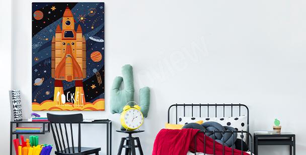 Obraz do pokoju nastolatka z rakietą