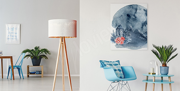 Obraz do salonu księżycowa abstrakcja