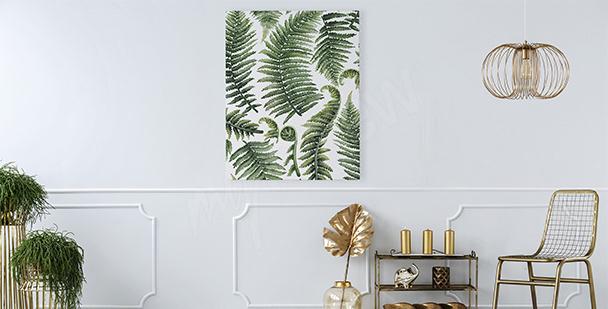 Obraz do salonu liście paproci
