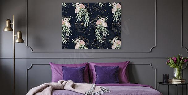 Obraz do sypialni kwiaty retro