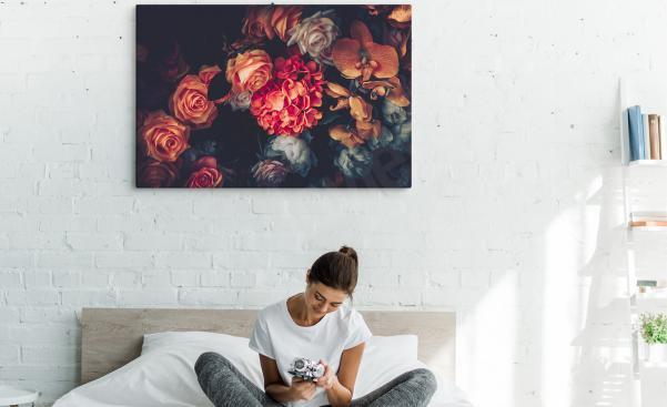 Obraz do sypialni z kwiatami vintage