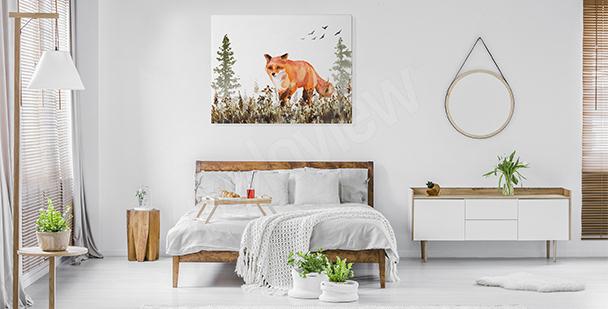 Obraz do sypialni z lisem