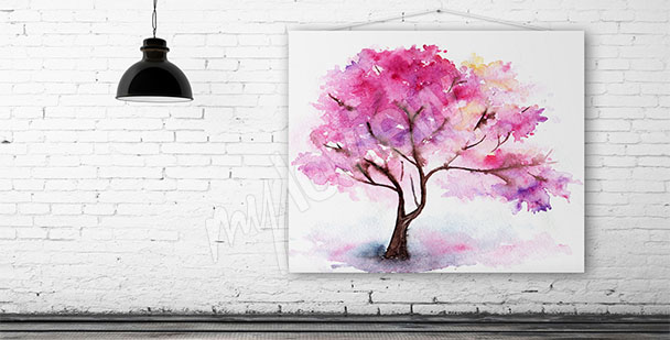 Obraz drzewo wiśni akwarela