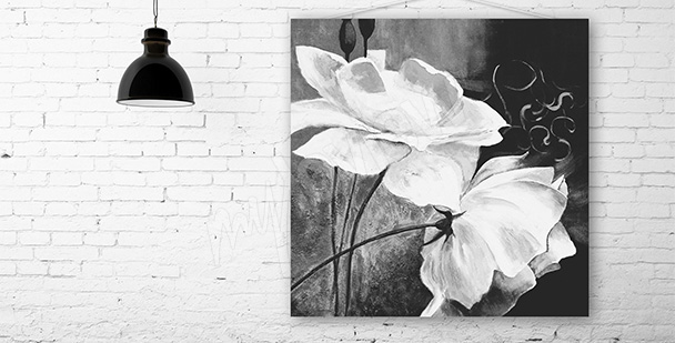 Obraz dwa białe kwiaty