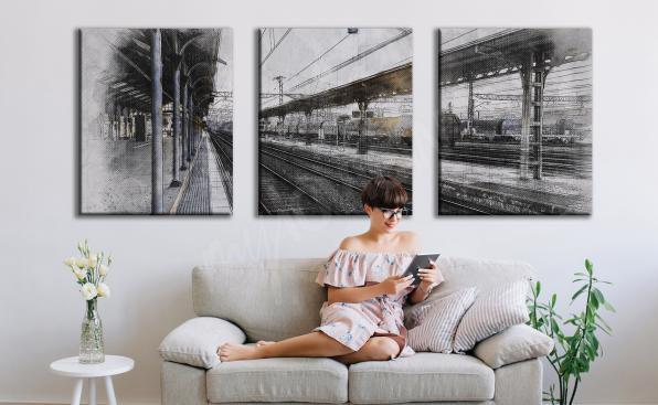 Obraz dworzec w formie tryptyku