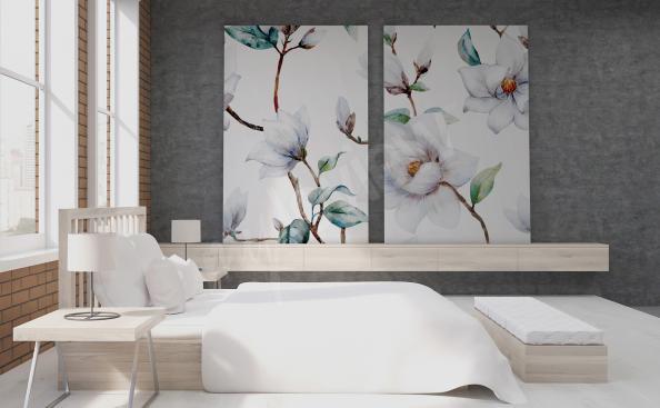 Obraz dyptyk z kwiatami magnolii
