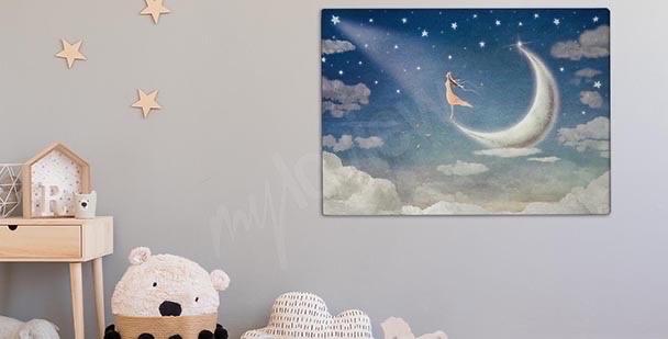Obraz dziewczyna na księżycu