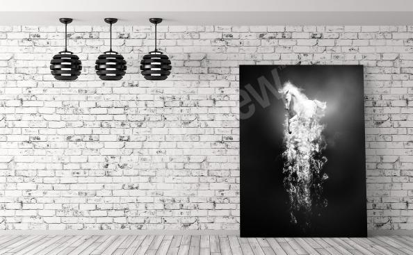 Obraz fantasy czarno-biały koń