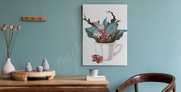 Obraz filiżanka z liśćmi