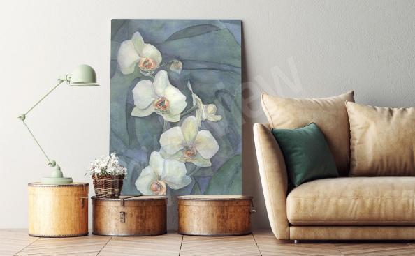 Obraz gałązka białej orchidei