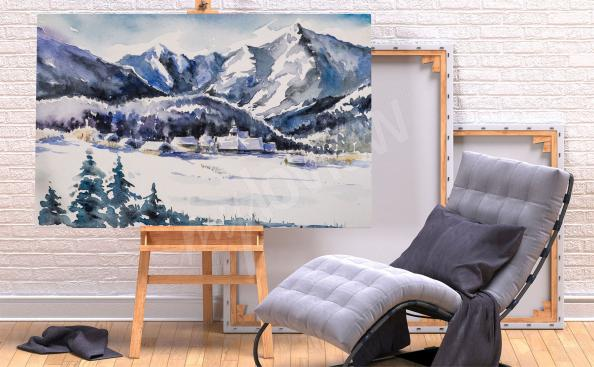 Obraz góry zimą pejzaż