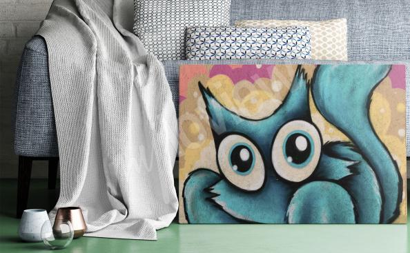 Obraz graffiti niebieski kot