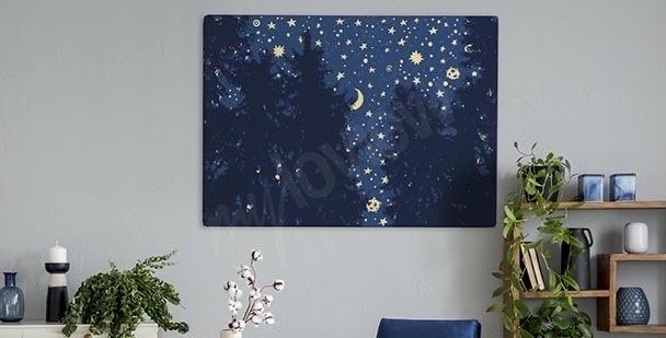 Obraz gwiazdy nad lasem