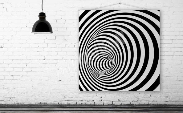 Obraz iluzja spirala w czerni i bieli