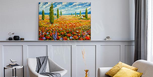Obraz impresjonistyczny: łąka