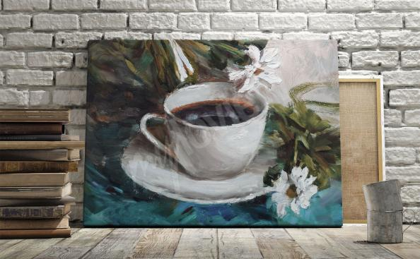 Obraz kawa i kwiaty