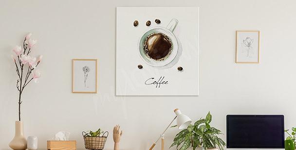 Obraz filiżanka kawy w czerni i bieli