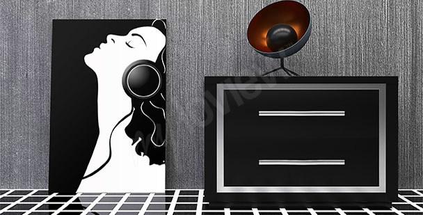 Obraz kobieta słuchająca muzyki