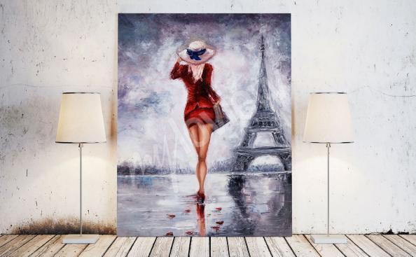 Obraz kobieta w Paryżu