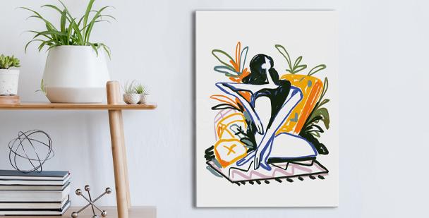 Obraz kobieta wśród roślin