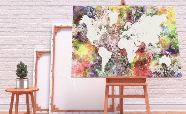 Obraz kolorowa mapa świata