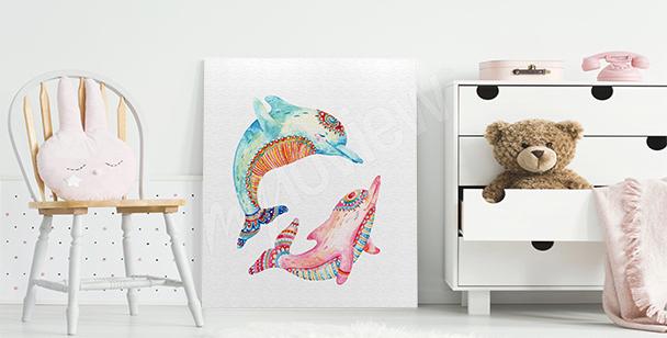 Obraz kolorowe delfiny