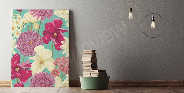 Obraz kolorowe kwiaty wiosenne