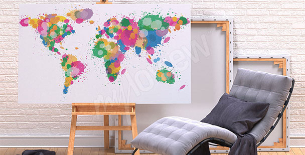 Obraz mapa kolorowe plamy