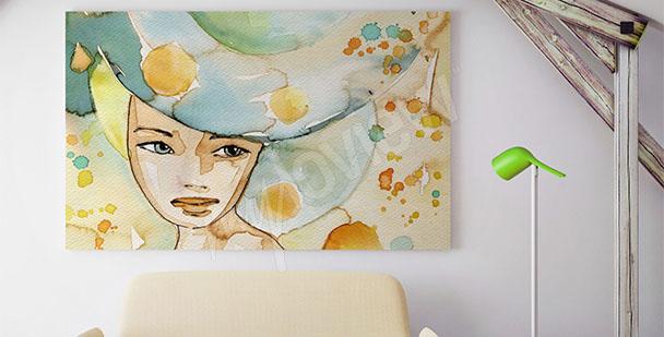 Obraz kolorowy portret kobiety
