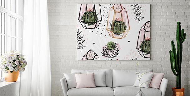 Obraz kompozycja z kaktusami