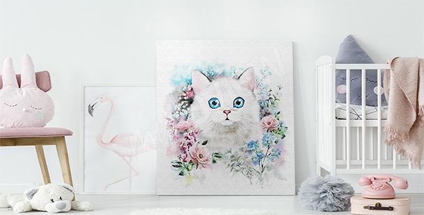 Obraz kot w różach