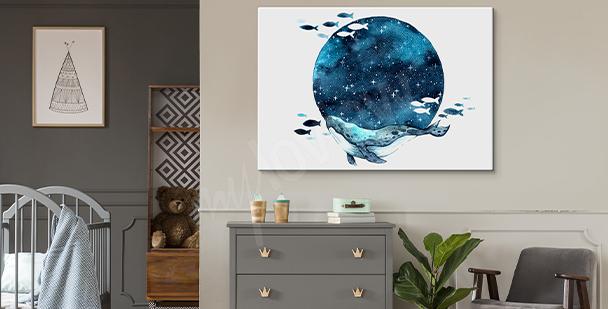 Obraz księżyc w stylu galaxy