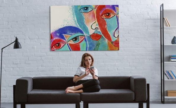 Obraz kubizm i kolorowe twarze