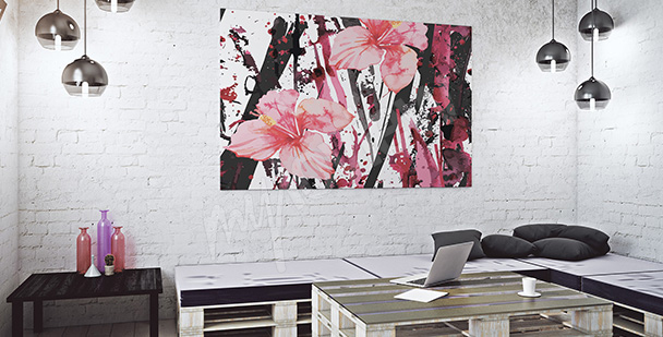Obraz kwiaty i abstrakcja