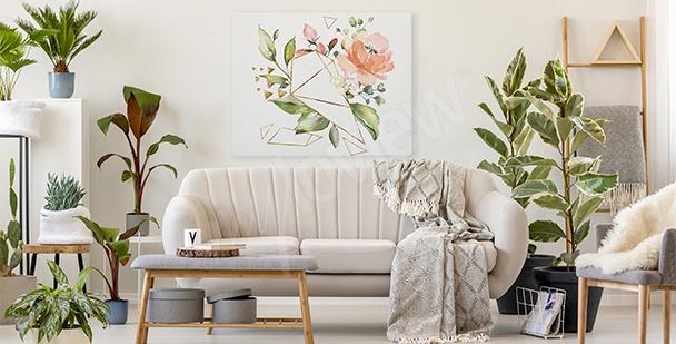 Obraz kwiaty i geometria