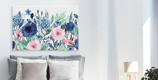 Obraz kwiaty i liście monstery
