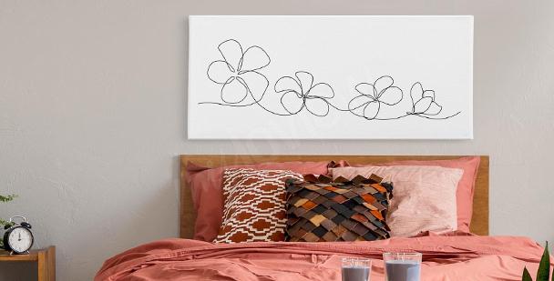 Obraz czarne kwiaty
