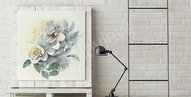 Obraz kwiaty malowane akwarelą