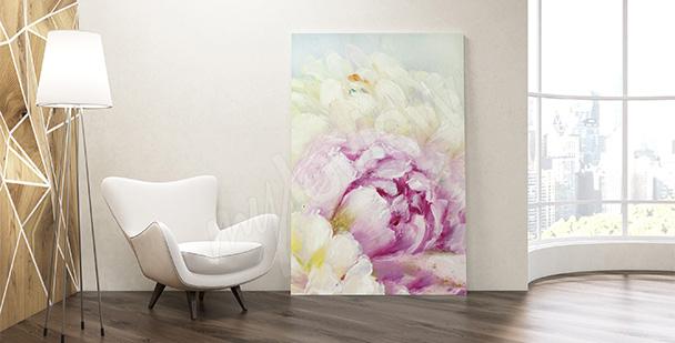 Obraz kwiaty malowane do salonu