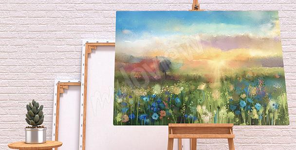 Obraz kwiaty na łące
