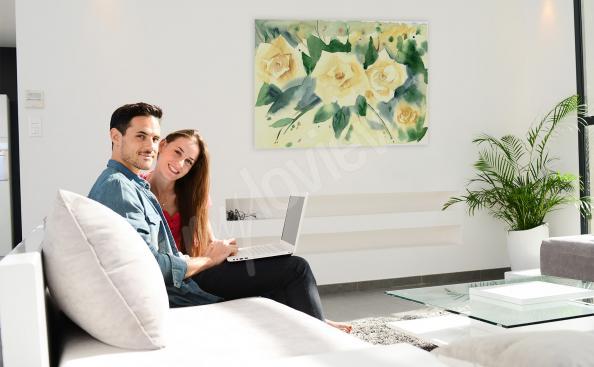 Obraz kwiaty ręcznie malowane do salonu