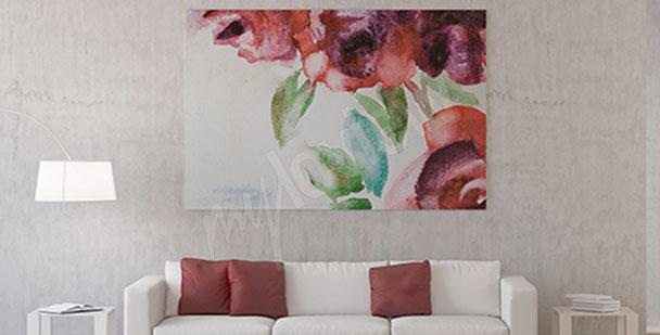 Obraz kwiaty róży akwarela