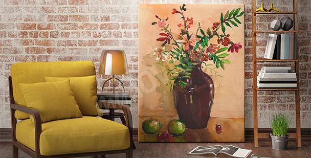 Obraz kwiaty w wazonie do salonu