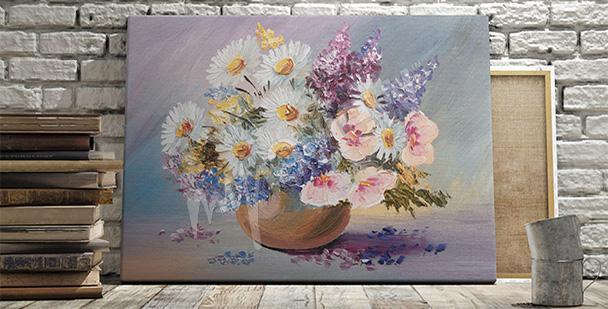 Obraz kwiaty w wazonie retro