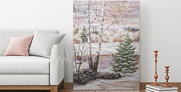 Obraz las brzozowy zimą