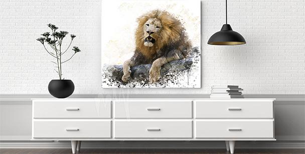 Obraz lew na skałach